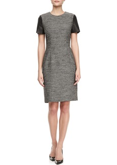 Jason Wu Leather Cap-Sleeve Tweed Sheath Dress