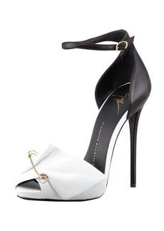 Giuseppe Zanotti Safety Pin Leather Sandal, Black/White