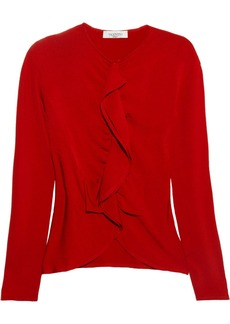 Valentino Ruffled stretch-knit cardigan