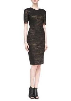 JASON WU Metallic Melange Cap-Sleeve Dress