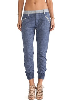 7 For All Mankind Drapey Contrast Pant in Blue