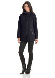 Via Spiga Women's Hooded Fleece Lined Soft Shell Jacket with Taping Detail