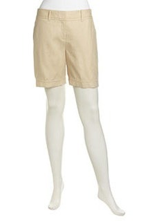 Lafayette 148 New York Relaxed Flat Linen Shorts, Stone