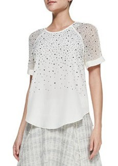 Studded Sheer-Sleeve Jersey Top   Studded Sheer-Sleeve Jersey Top