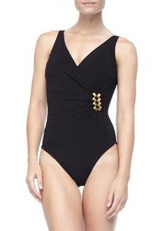 V-Neck One-Piece Swimsuit   V-Neck One-Piece Swimsuit