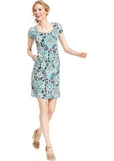 Charter Club Petite Cap-Sleeve Paisley-Print Empire-Waist Dress