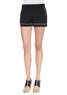 Joie Calisi Contrast-Trim Silk Shorts