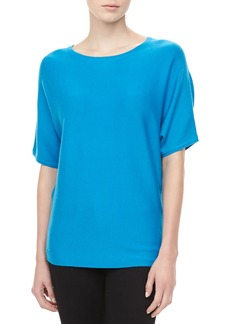 Michael Kors Short-Sleeve Cashmere Top, Pool
