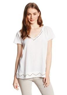 Lucky Brand Women's White Grommet Top
