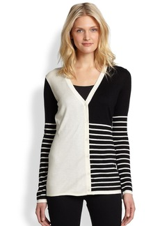 Saks Fifth Avenue Collection Striped Colorblock Cardigan