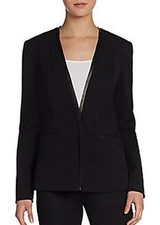 Elie Tahari Bernice Leather-Trim Jacket