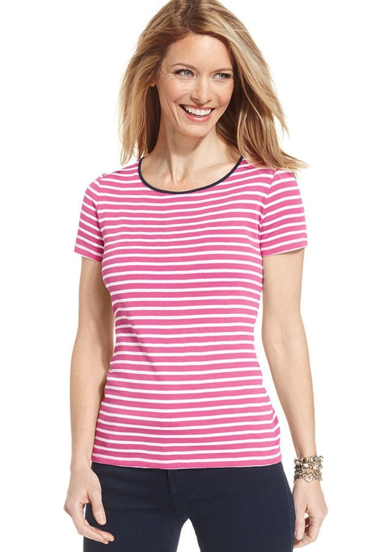 Charter Club Petite Short-Sleeeve Striped Contrast-Trim Tee