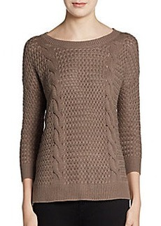 Joan Vass Studio Crewneck Cable Sweater
