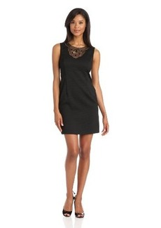 Ellen Tracy Women's Embellished Neck Dress