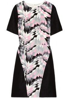 Tibi Printed silk and linen-blend dress
