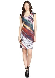 Kay Unger red watercolor print and faux leather trim cap sleeve dress