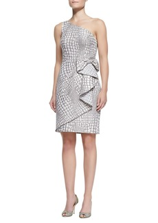 Kay Unger New York One-Shoulder Waist-Bow Cocktail Dress, Mocha