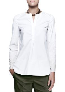 Brunello Cucinelli Textured-Sleeve Popover Shirt