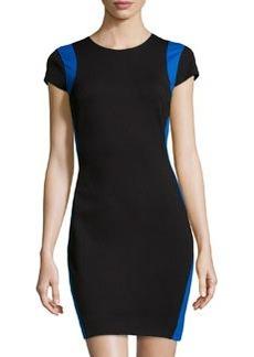 Diane von Furstenberg Bi-Color Ponte Sheath Dress, Black/Blue Diamond