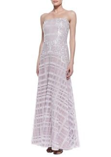 Tadashi Shoji Strapless Embroidered Plaid Gown, Lavender/White