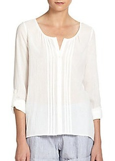 Joie Damini Pintucked Cotton Voile Blouse