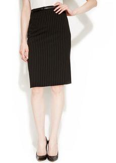 Calvin Klein Belted Pinstriped Pencil Skirt