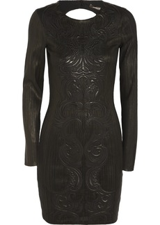 Roberto Cavalli Embroidered leather dress