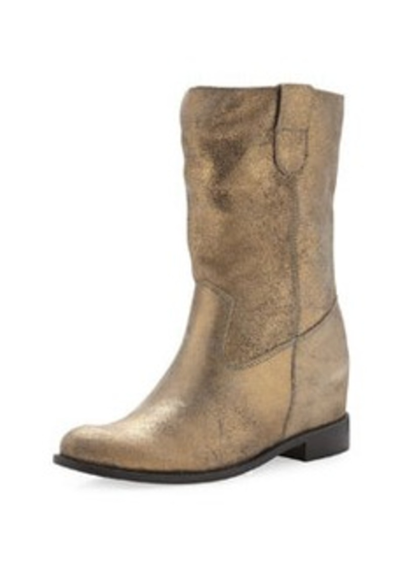 schutz schutz crinkled metallic boot ouro shoes