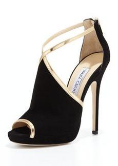 Fey Peep-Toe Suede Sandal, Black/Gold   Fey Peep-Toe Suede Sandal, Black/Gold