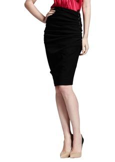 Lanvin Side-Ruched Stretch-Linen Pencil Skirt, Black