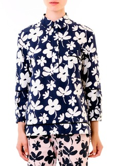 Marni Floral High-Low Hem Cotton Tunic, Navy/White