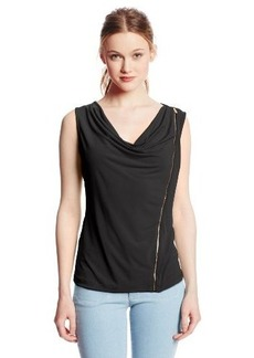 Calvin Klein Women's Solid Zipper Cowl Top