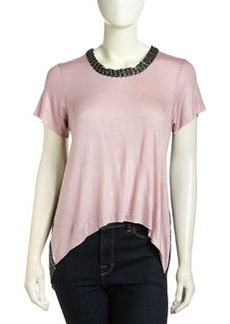 T Bags High-Low Mesh-Back Shimmer Top, Rose Foil