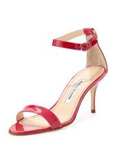 Manolo Blahnik Chaos Ankle-Wrap Sandal, Fuchsia