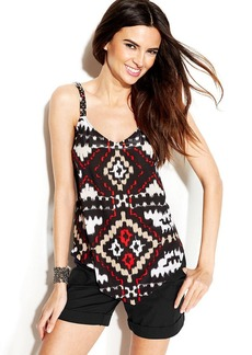 INC International Concepts Beaded Printed Handkerchief-Hem Sleeveless Top