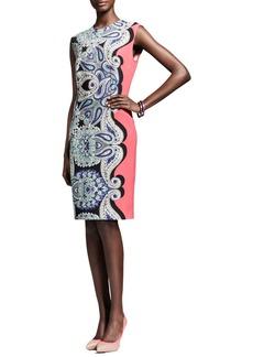 Lanvin Cap-Sleeve Paisley Sheath Dress