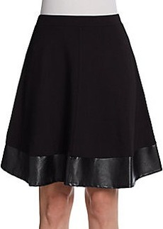 Saks Fifth Avenue BLACK Vegan-Leather Trimmed Skirt