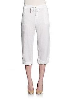 Saks Fifth Avenue BLUE Cropped Linen Pants
