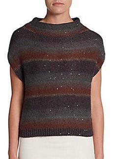 Brunello Cucinelli Striped Cashmere/Silk Dolman Pullover