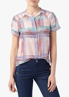 Button Front Top in Coral Rose Plaid