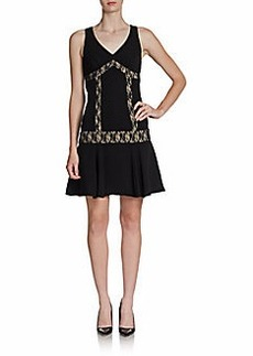 ABS Lace-Inset Knit Dress