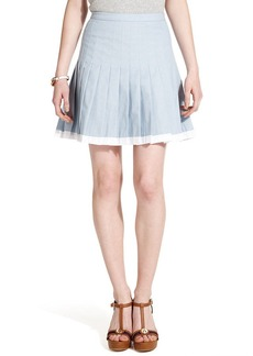 Tommy Hilfiger Pleated Colorblocked Chambray Skirt
