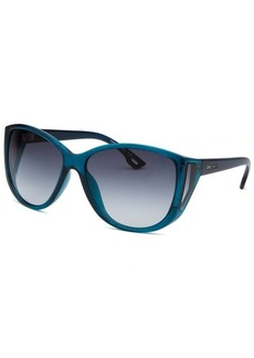 Diesel Women's Square Dark Grey Turqoise Sunglasses