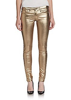 AG Adriano Goldschmied Gold Metallic Coated Jeggings