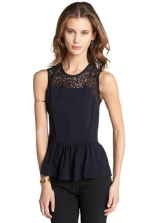 Rebecca Taylor navy stretch crepe and lace sleeveless peplum top