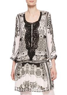 Roberto Cavalli Leather-Bib Printed Georgette Tunic, Black/White