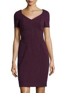 Kay Unger New York Seam-Detail Stretch Crepe Dress, Eggplant