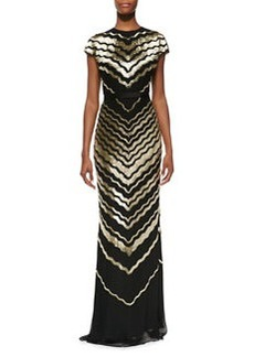 Jason Wu Bugle Bead Cap-Sleeve Gown, Gold/Black