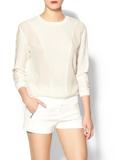 Rebecca Taylor Long Sleeve Texture Comfy Top