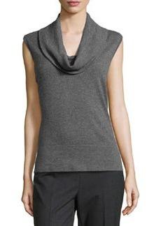 Lafayette 148 New York Cozy Flannel Sleeveless Cowl Jersey-Knit Sweater, Dark Nickel